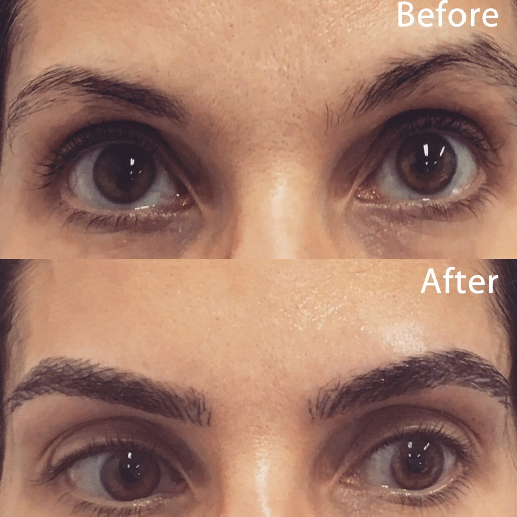 Incorrect eyebrow shape and inability to grow eyebrow hair. Client came out of the chair with a gorgeous shape and color.