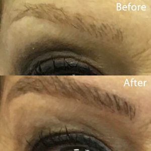 Eyebrows previously microbladed faded and only needed a touch up. Microblading is simple and doesn't get discolored like tattoos.