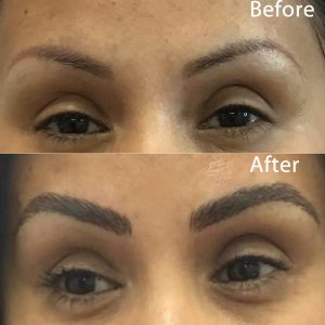 Client with thin, damaged brows receives a fuller, gorgeous eyebrow shape