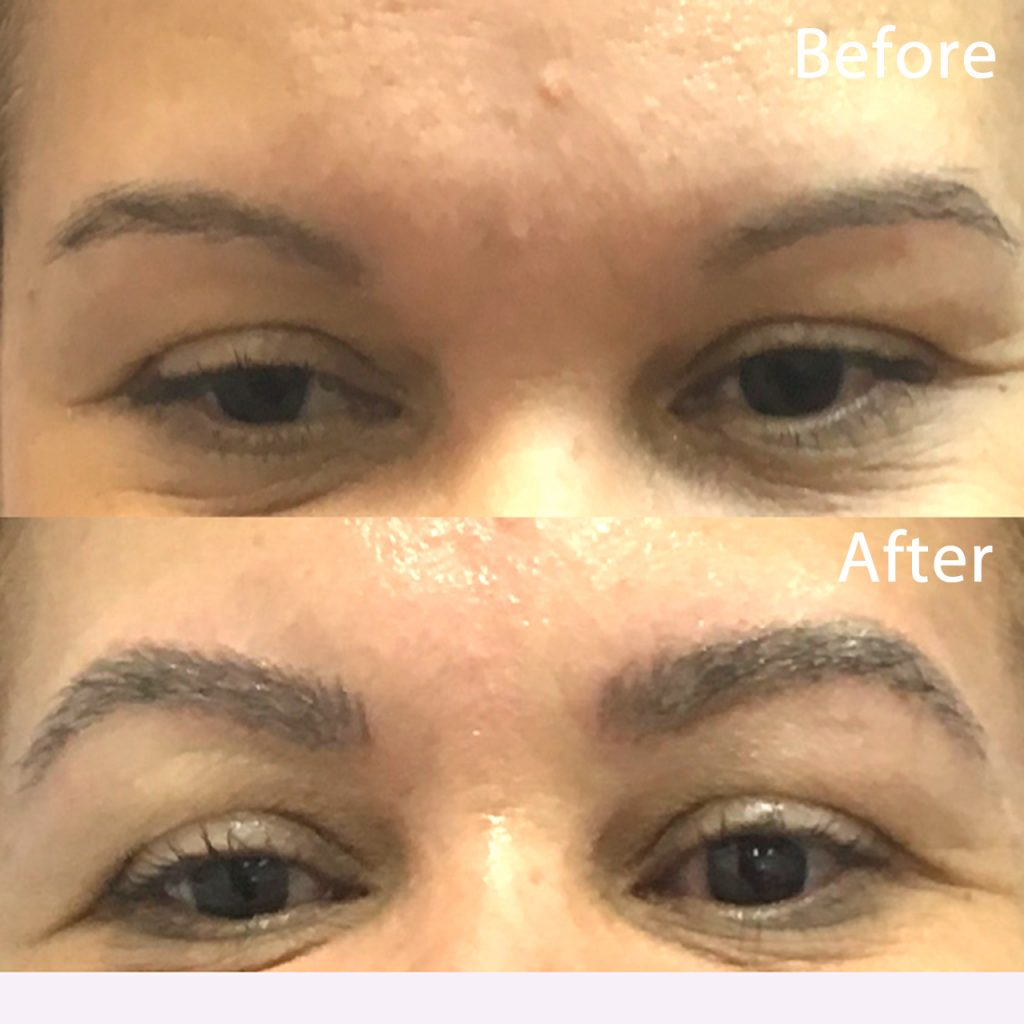 Client had damaged brows and left with a full, gorgeous shape in 1.5 hours